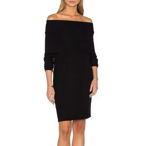 sexy LNA black jersey bodycon off shoulder dress S